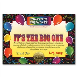 It's The Big One Award Certificates (6 Certificates/Pkg)