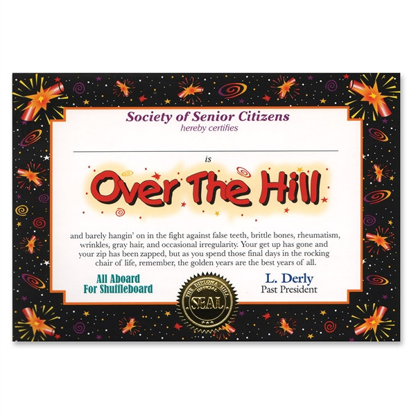 Over The Hill Award Certificates Partycheap