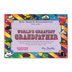 World's Greatest Grandfather Award Certificates