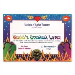 World's Greatest Lover Award Certificates (6 Certificates/Pkg)