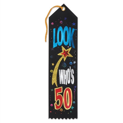 Look Who's 50 Jeweled Ribbon