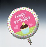 Cupcake Happy Birthday Mylar Balloon