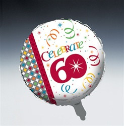 Birthday Celebration 60th Metallic Mylar Balloon