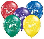 Happy Birthday Swirl Latex Balloon