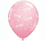 It's A Girl Confetti Latex Balloon