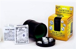 Dice Cup with Dice and Playing Cards