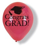 Red Congrats Grad Latex Balloons