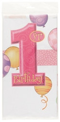 Pink 1st Birthday Tablecover