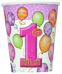 Pink 1st Birthday Hot/Cold Cups (8/pkg)