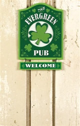 Evergreen Pub Wooden Bar Sign