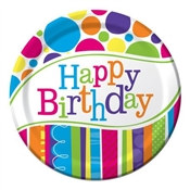 Bright and Bold Happy Birthday Dessert Plates (8/pkg)