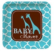 Blue Baby Safari Shower Lunch Plates (8/pkg)