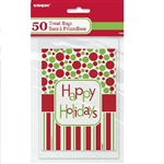 These high-quality treat bags are very festively decorated with red & green polka dots. Slip some candy canes in these bags as a parting gift for your guests this Christmas. Comes 50 per package.