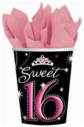 Sweet 16 Sparkle Cups, 9 ounces, 8/pkg