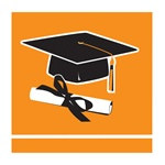 Orange Congrats Grad Beverage Napkins