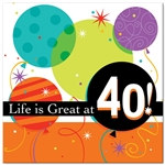 Life Is Great 40th Luncheon Napkins (16/pkg)