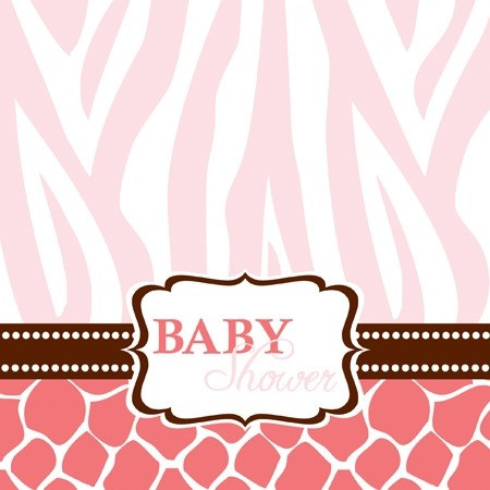 pink baby safari shower lunch napkins 16 pkg partycheap