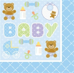 Teddy Baby Blue Lunch Napkins (16/pkg)