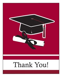 Burgundy Congrats Grad Thank You Cards