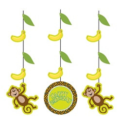 Monkey Hanging Cutouts (3/pkg)