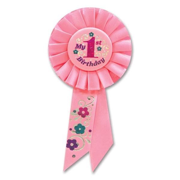 Pink My 1st Birthday Rosette Ribbon