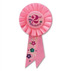 Pink My 2nd Birthday Rosette Ribbon