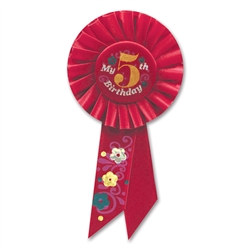 Red My 5th Birthday Rosette Ribbon