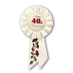 Happy 40th Anniversary Rosette Ribbon