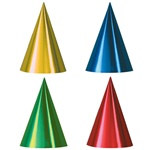 Packaged Assorted Foil Cone Hats (sold 12 per box)