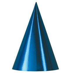 Blue Packaged Foil Cone Hats (sold 12 per box)
