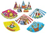 Packaged Assorted Circus Birthday Hats (sold 12 per box)