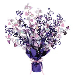 Purple, Pink, and Opalescent Heart Gleam N Burst Centerpiece