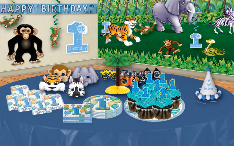 Jungle first birthday party ideas partycheap for 1st birthday party decoration ideas boys