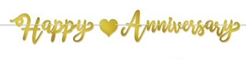 Gold Foil Happy Anniversary Streamer - Say I love you all over again!