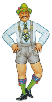 Jointed Mr Oktoberfritz from PartyCheap is a full size jointed cutout for hanging on your wall.