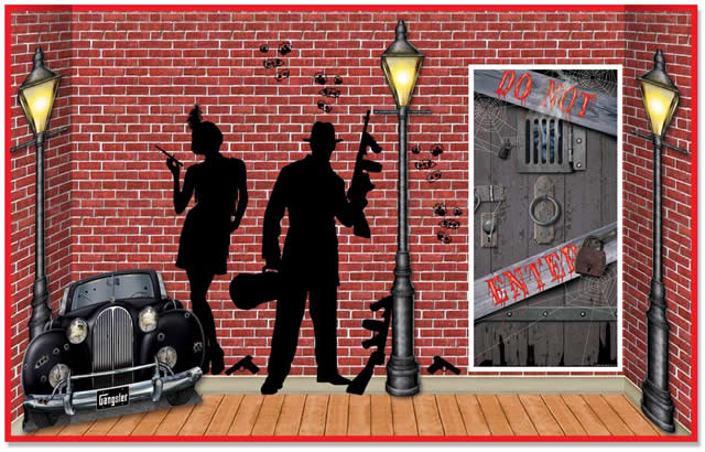 1920's Gangster Backdrops & Props - everything you need for a 20's gangster party theme!