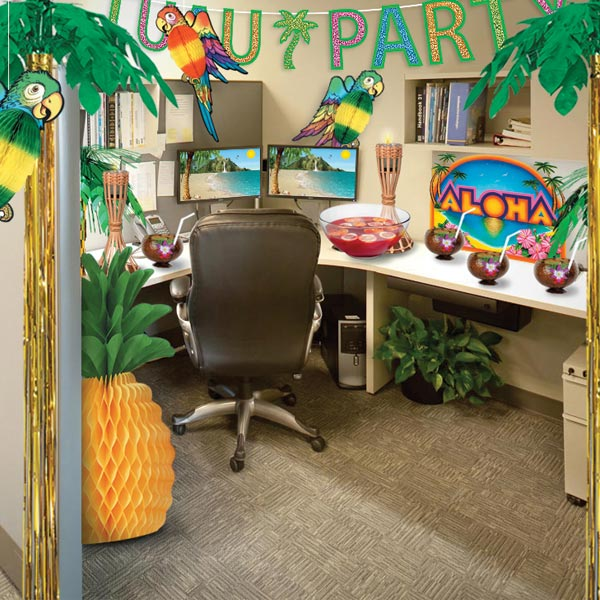Turn your office party into a luau paradise partycheap for Decoration work