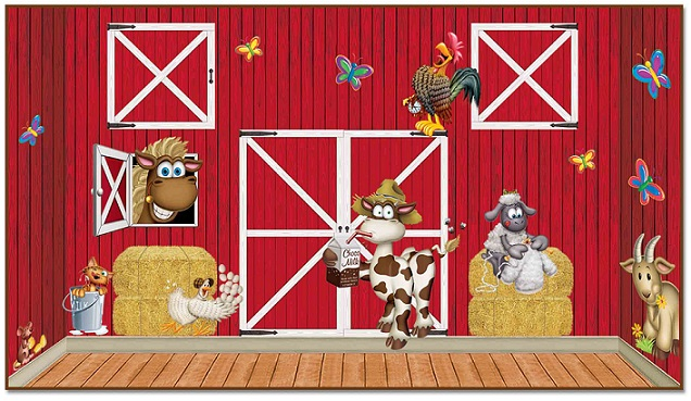 Red Barn Farm Backdrops Props