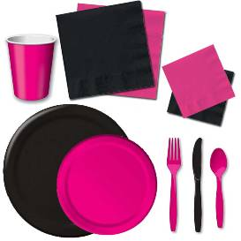 Black and Hot Pink Tableware