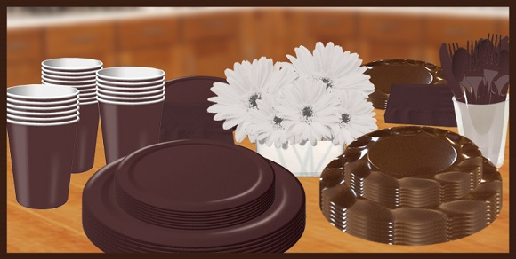 Brown chocolate tableware