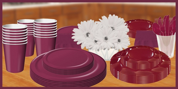Burgandy Color Tableware