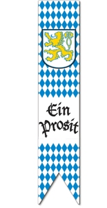 Hanging banners like this blue and white harlequin pattern from PartyCheap put the fininshing touches on your Oktoberfest decorations.
