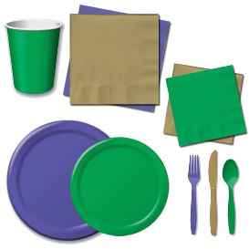 Purple, Green, & Gold Tableware Pattern