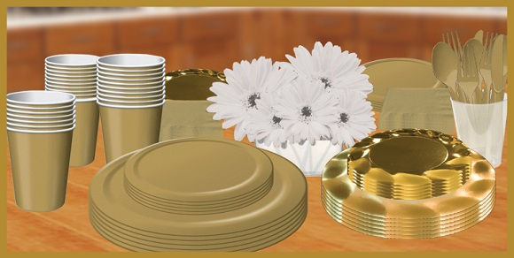 Gold tableware, plates, napkins, cups & utensils