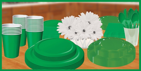 Green tableware, plates, cups & napkins