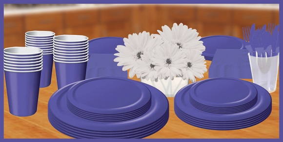 Purple tableware, cups, plates, napkins & utensils