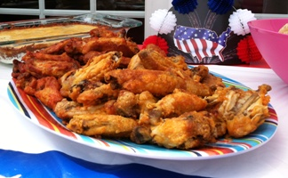 Red, Hot and Bleu Wings - just right for your patriotic 4th of July celebration