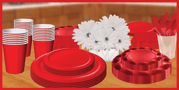 red tableware, plates, cups, napkins & utensils