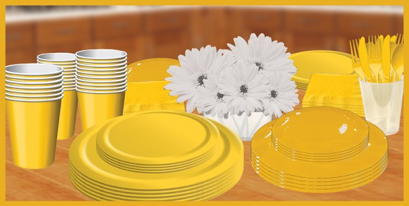 Yellow Tableware, cups, plates, napkins & utensils