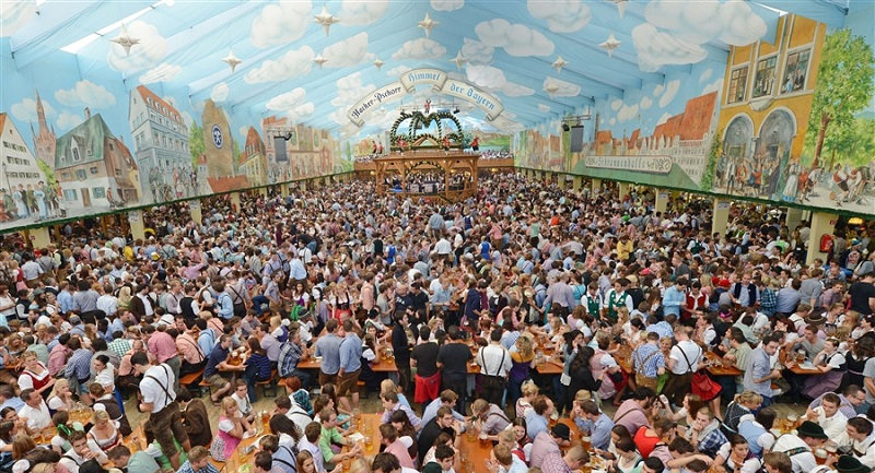 Oktoberfest beer hall in Munich. Image Courtesy oktoberfest-munchen.com